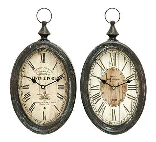 Benzara Oval Shape Sophisticated Assorted Metal Wall Clock, Set of 2
