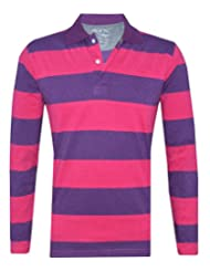 Tee Talkies Authentic Striped Polo Full Sleeve T Shirts  Pink Purple