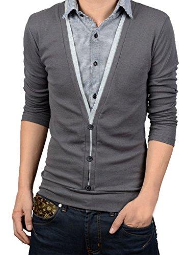 Gillbro falso coreano Two Camicia Slim Fit causale degli uomini, grigio scuro, 5XL