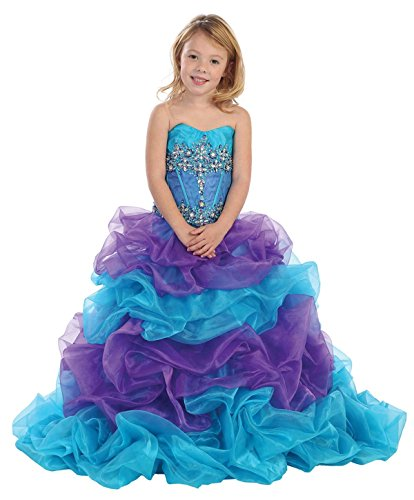 Fashion Plaza Girl's Organza Rhinestone Formal Ball Party Pageant Dress K0052