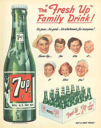 Family Drink! 1950 7Up Ad 24-Bottle Case 3 Generations front-1019583