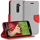 LG G2 Case, GMYLE (R) Wallet Case Classic For LG G2 D800 801 802 803 - Grey & Red PU Leather Slim Magnetic Flip Stand Cover with Card slot and money pocket [Not fit for LG G2 mini]