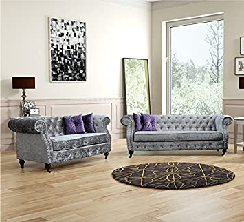 Lovesofas Belgravia Chesterfield 3 + 2 + 1 Seater Sofa Crushed Velvet - Silver (3+2)