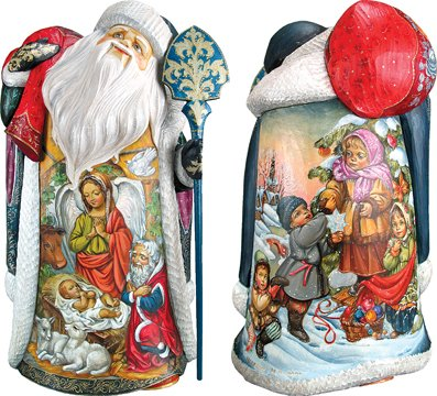 Nativity and Guardian Angel, Handpainted Woodcarved Masterpiece Fine Art Collection