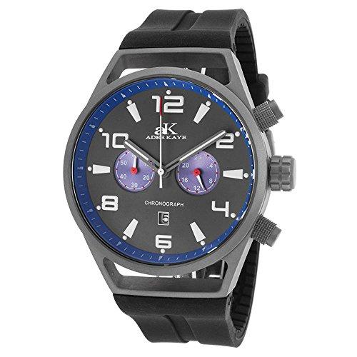 Adee Kaye Men's Raven 45mm Black Silicone Band IP Steel Case Quartz Grey Dial Watch AK7232-MT-BU
