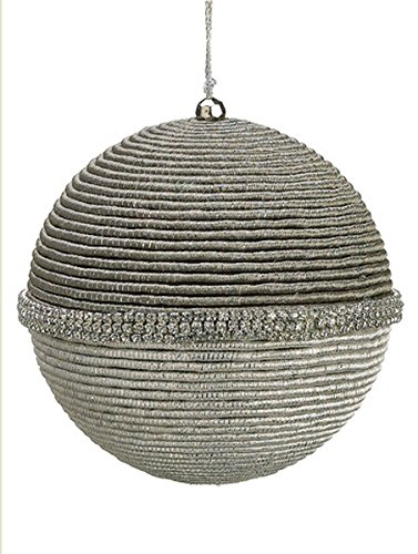 Glamour Time Silver Spiraling Cord 5-inch Christmas Ball Ornament Encrusted with a Band of Silver Rhinestones by Allstate