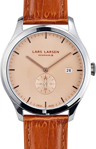Lars Larsen Ayo Unisex Quartz Watch with Beige Dial Analogue Display and Brown Leather Strap 129SCLL