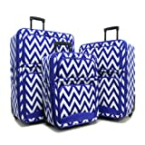 New Fashion Luggage 3pc Chevron Royal Blue - Swt 72