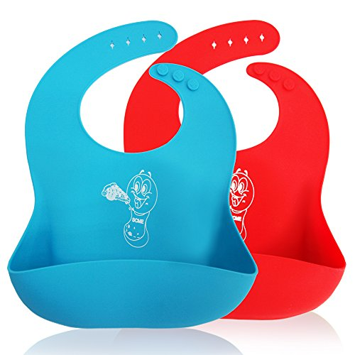 Waterproof Silicone Bib Soft for Toddlers With Pocket Set of 2 Colors Blue & Red