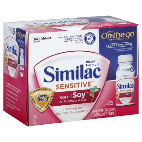 Similac Sensitive Isomil Soy Infant Formula, Soy, with Iron, Birth to 12 Months, 6 ct.