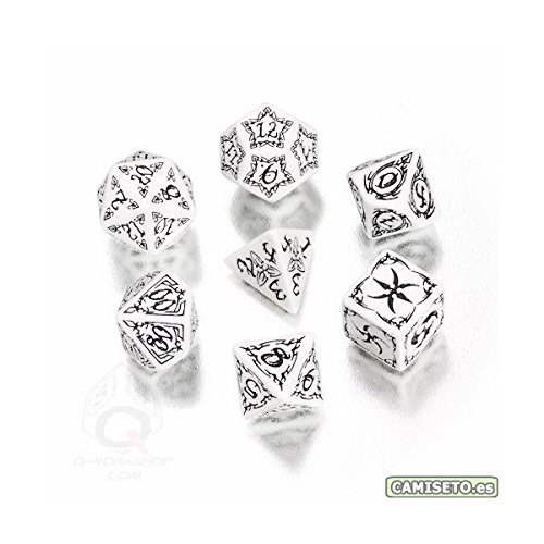 Q-Workshop Polyhedral 7-Die Set: Carved White & Black Tribal Dice (7) - 1