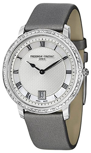 Frederique Constant Slim Line Mid-size Steel Diamond Womens Watch MOP & Silver Dial FC-220M4SD36