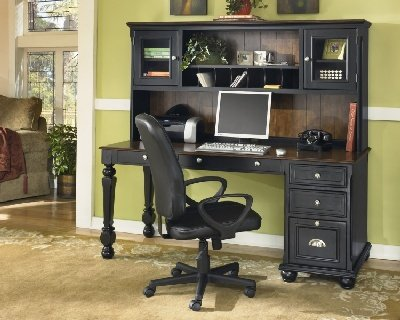 Buy Low Price Comfortable Brush Hollow Black/Brown Hardwood Computer Desk & Hutch Brush Hollow Black/Brown Collection (B002A1JZ44)