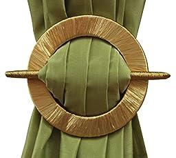 Threaded Decorative Curtain Holdbacks, Set of 2, Beige Black Gold Brown (Gold)