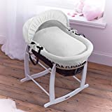 Clair de Lune Cotton Candy Charcoal Wicker Moses Basket, Ivory White