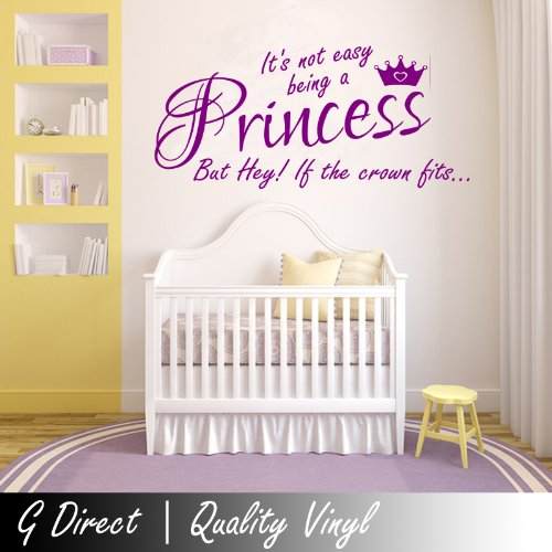 Its Not Easy Being A Princess Crown Girls Bedroom Wall Sticker Kids Vinyl Decal 100X55 (Colour)