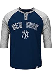 Men's New York Yankees NY Henley T-Shirt Quarter Sleeve Tee