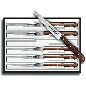 Victorinox 4-3 4-Inch Wavy-Edge Spear-Tip Steak Knife, Set of 6, Rosewood Handles by Victorinox
