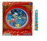 2 Item Gift Set Disney Mickey Mouse Wall Clock (10') and Ruler - Best Christmas Gifts and Stocking Stuffers for...