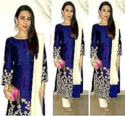 Sanjana Design Women's Georgette Dress Material ( KS6302_Free Size_Blue)