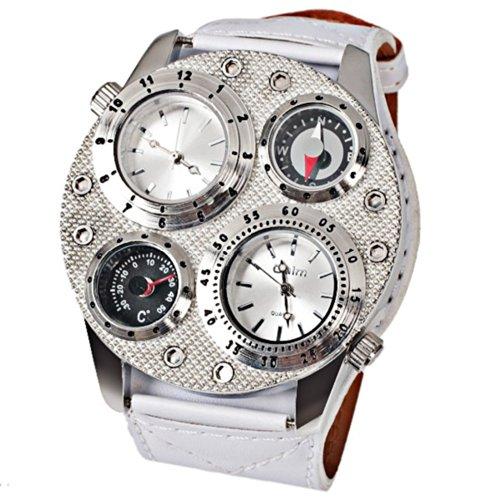 Oulm Ori-0632 二重の運動ホワイト本革バンド-シルバー ケースを持つ男性のための多機能軍事時計