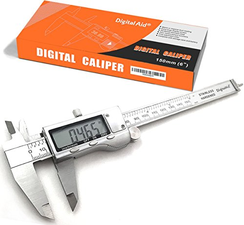 Stainless Steel Digital Caliper measuring device for inside, outside, depth and step measurements. Zero at any Position. Digital Vernier Caliper. (Digital Measuring Device compare prices)
