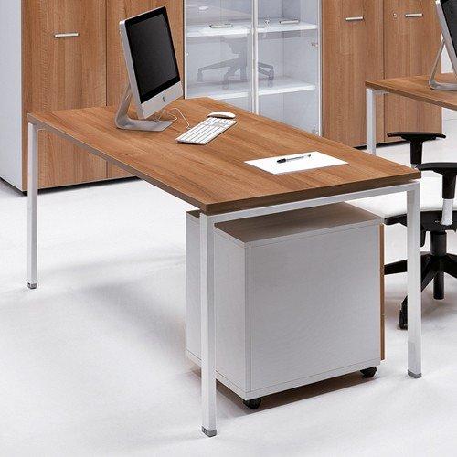 Portacomputer Scrivania Ufficio 160x80 con piano in legno gambe metallo 1313 Fumunet