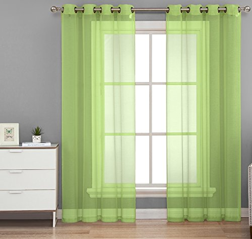 HLC.ME 2 Piece Sheer Window Curtain Grommet Panels (Lime Green) - 84
