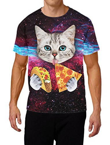 RAISEVERN Unisex Cute Tacos Cat Printed Round Neck Novelty T shirts Clothes (Taco Cat Space Shirt compare prices)