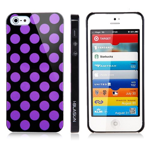 i-Blason Dalmation Series Polka Dot Design Slim Fit Hard Shell Case for Apple New iPhone 5 AT&T, Sprint, Verizon 4G LTE Retail Packaging (Multi-Color Available) (Black / Pink)