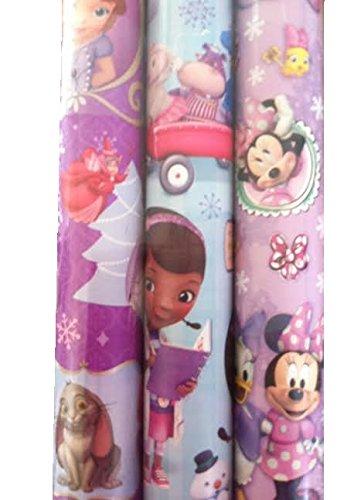 3pk Disney Junior ~ Holiday Gift Wrap ~ Sofia, Minnie, Doc McStuffins