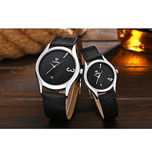 Coppia di orologi, ihee 2PCS romantico di pelle ultrasottile coppia da polso al quarzo