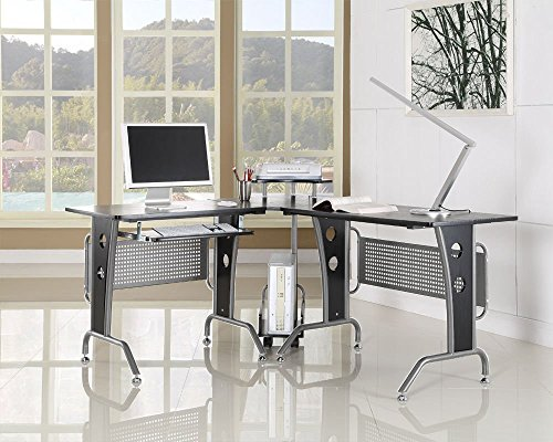BTM-Large-Corner-Computer-PC-Desk-Oversizecm17001450-Corner-Contemporary-Office-Desk-L-Shaped-WorkstationKeyboard-on-the-left
