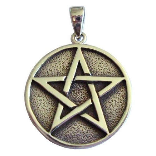 Sterling Silver Solid Pentacle Pentagram Pendant Wiccan Pagan Jewelry
