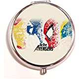 The New Avengers Round Fashion Pill Box Medicine Tablet Holder Organizer Case For Pocket Or Purse