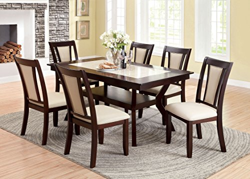 Great Furniture of America Dalcroze Piece Modern Faux Marble Top Dining Set Dark Cherry