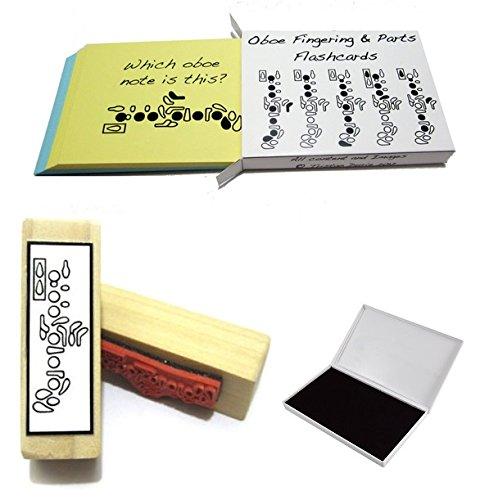 Oboe-Student-Geschenk-Pack-Karteikarten-Griffweise-Gummi-Stempel-Pad