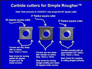 Package of 3 Square Carbide Replacement Cutters Inserts for Simple Rougher