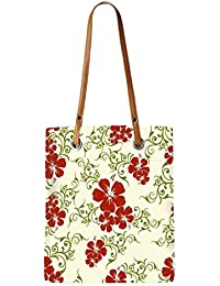 Snoogg Red Flower Cream Pattern Womens Digitally Printed Utility Tote Bag Handbag Made Of Poly Canvas With Leather...