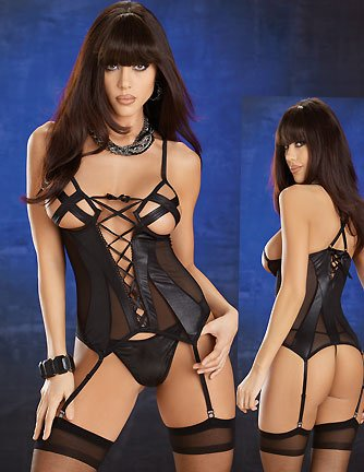 Genevieve Cami-Suspender Set-Black Women's Fashion Sexy Lingerie
