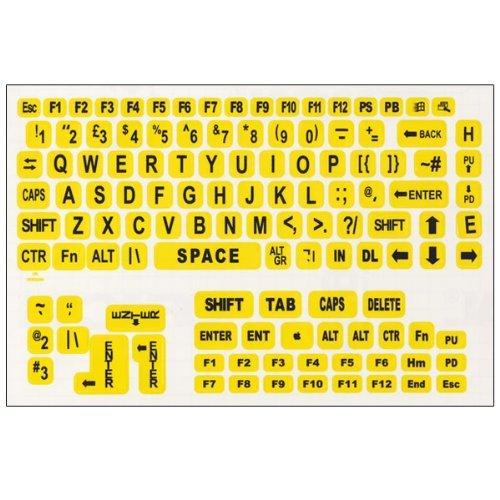 Large Print Keyboard Labels For Pcs- Black-Yellow