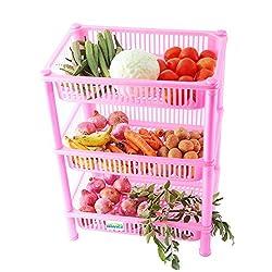 NOVICZ 3 Layer Kitchen Rack Stand Fruits Vegetable Rack Storage Household Office Rack Storage Stand - Pink