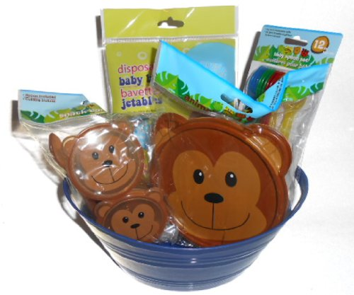 Bear Baby Feeding Gift Set. Covered Bowl, 2 Covered Containers, 12 Feeding Spoons, 6 Pack of Disposible Bibs, All in a Little Blue Tub Container