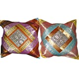2 Orange Sky-Blue Vintage Silk Sari Toss Pillow Cushion Coversby Mogulinterior