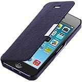kwmobile Flip Case Hülle für Apple iPhone 5 / 5S - Aufklappbare Schutzhülle Tasche im Flip Cover Style in Dunkelblau Silber