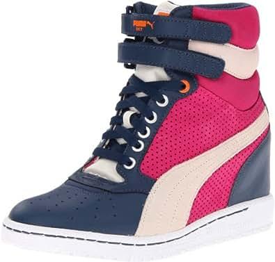 PUMA Women's Sky Wedge Fashion Sneaker,Dark Denim/Birch,7 B US