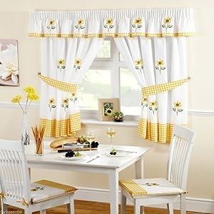 sunflower gingham 46 x 42 yellow kitchen curtains