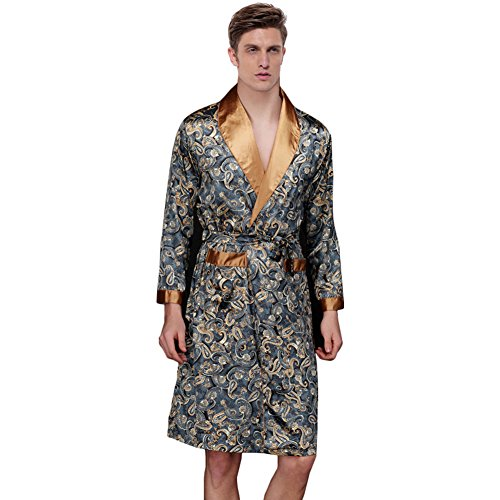 Waymoda Men\'s Luxury Silky Satin Evening Dressing Gown, Male Classic ...