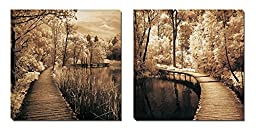 Mon Art Greenway Highway Brown Trees Wooden Bridge Portray Canvas Art Framed Wall Painting