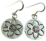 Luna Tree Jewellery Fair Trade Silver Faith Flower Earrings 1.75Cm Diameter